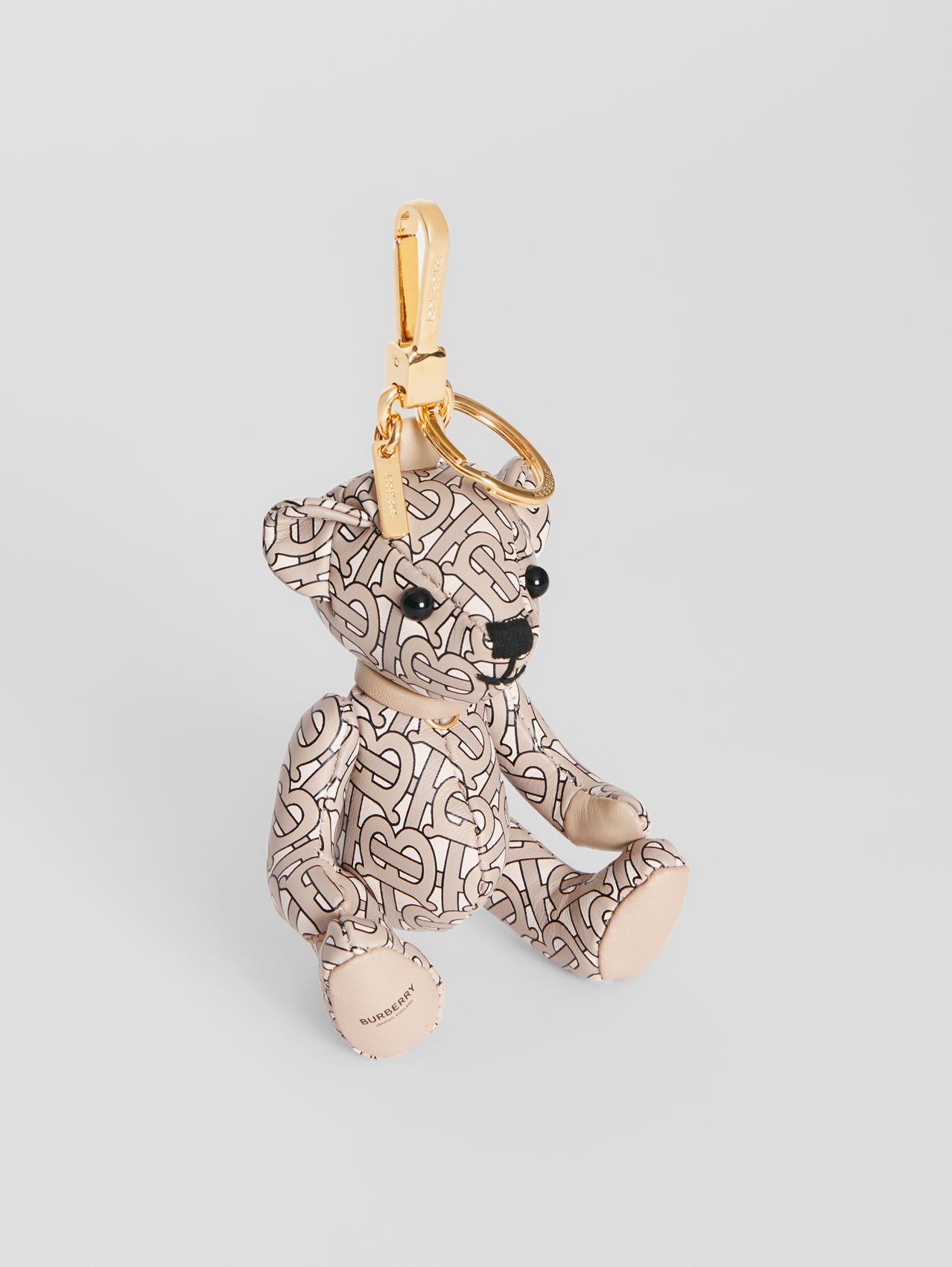 Thomas Bear Charm in Monogram Print Leather in Beige