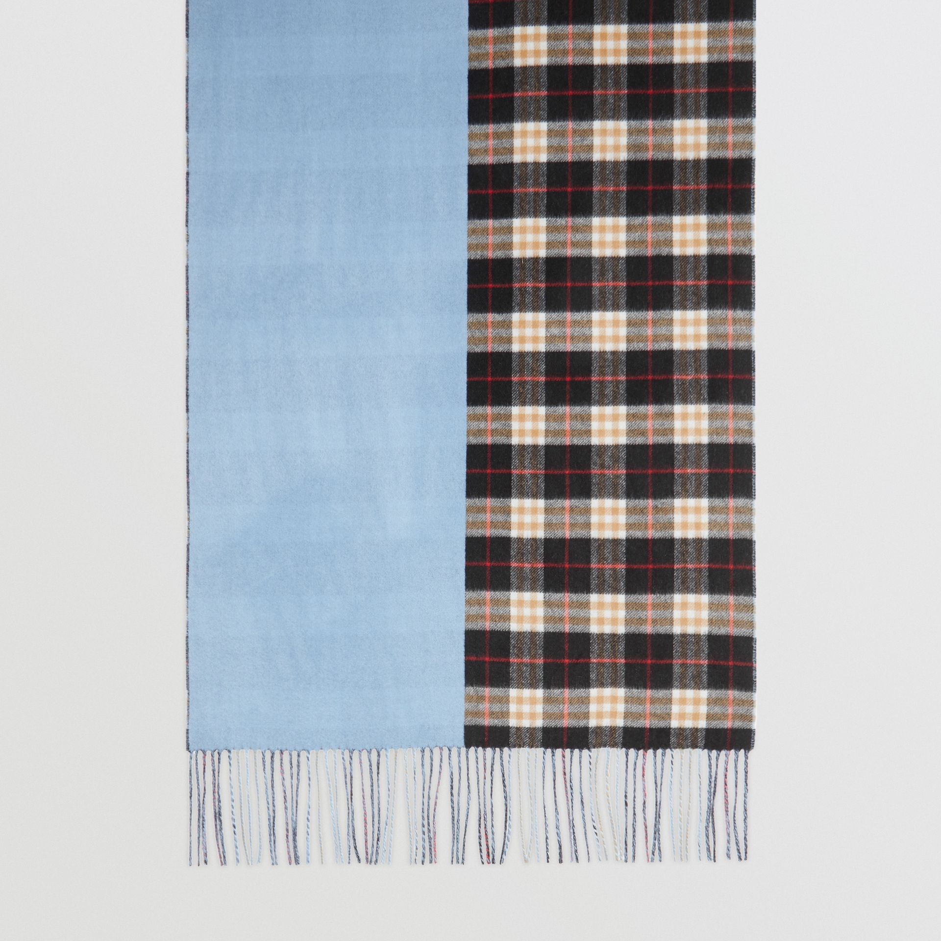 Colour Block Vintage Check Cashmere Scarf in Pale Air Force Blue | Burberry - gallery image 2