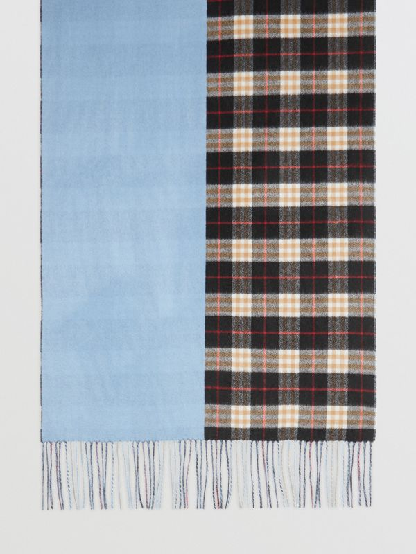 Colour Block Vintage Check Cashmere Scarf in Pale Air Force Blue | Burberry Singapore - cell image 2
