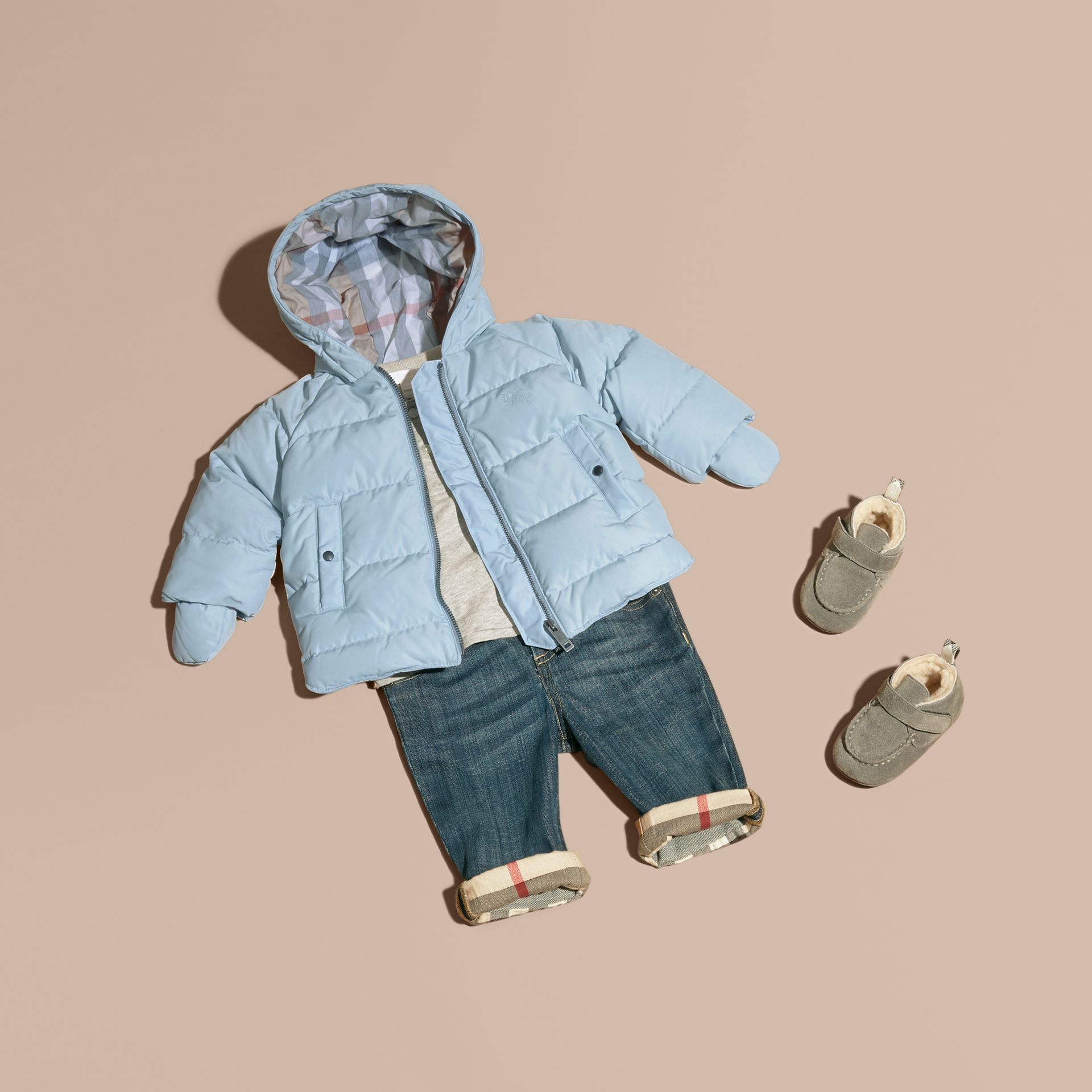 Hooded Down-filled Puffer Jacket with Mittens Ice Blue - gallery image 1