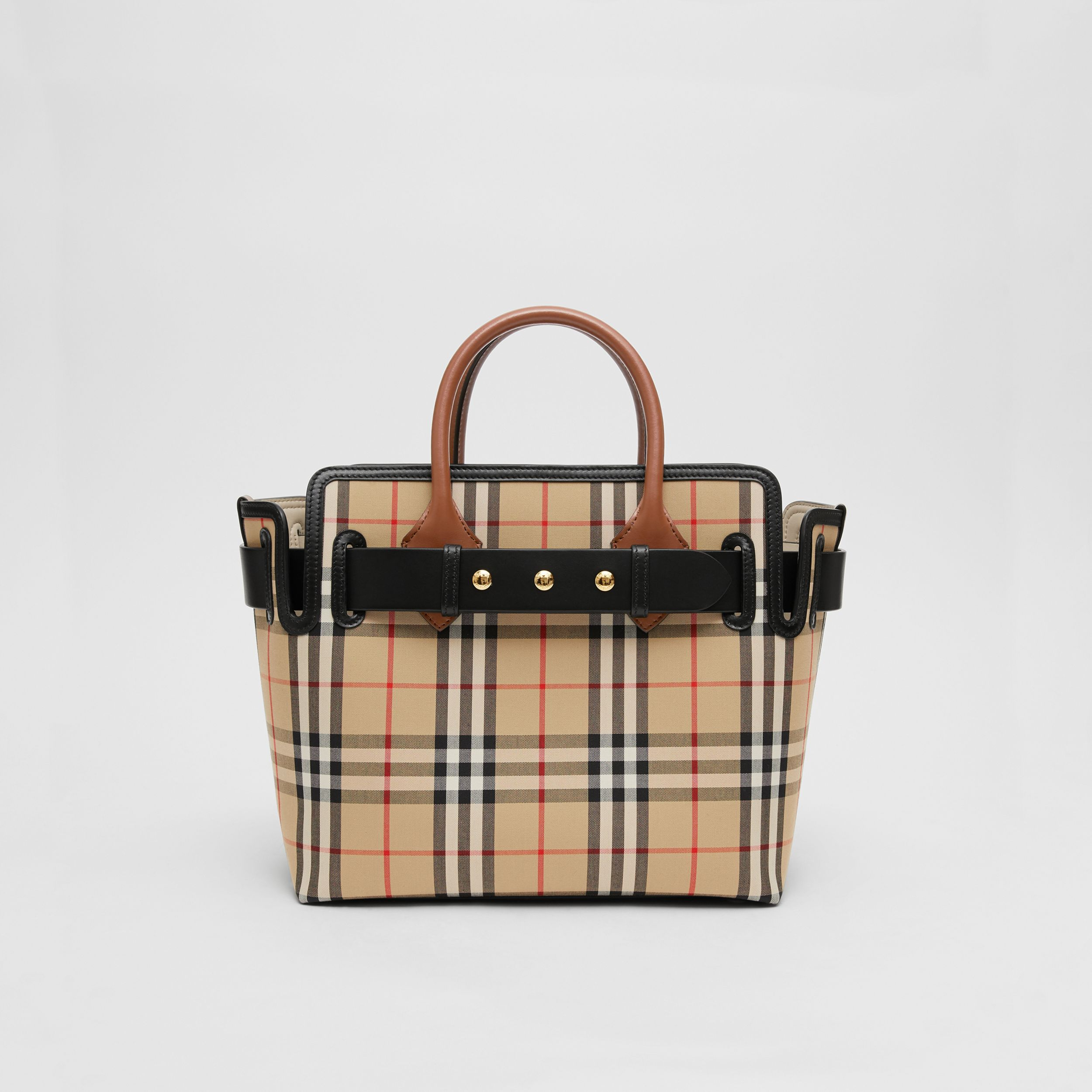The Small Vintage Check Triple Stud Belt Bag in Archive Beige - Women | Burberry - 1