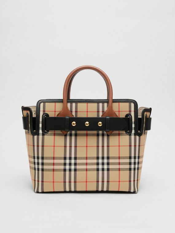 The Small Vintage Check Triple Stud Belt Bag in Archive Beige