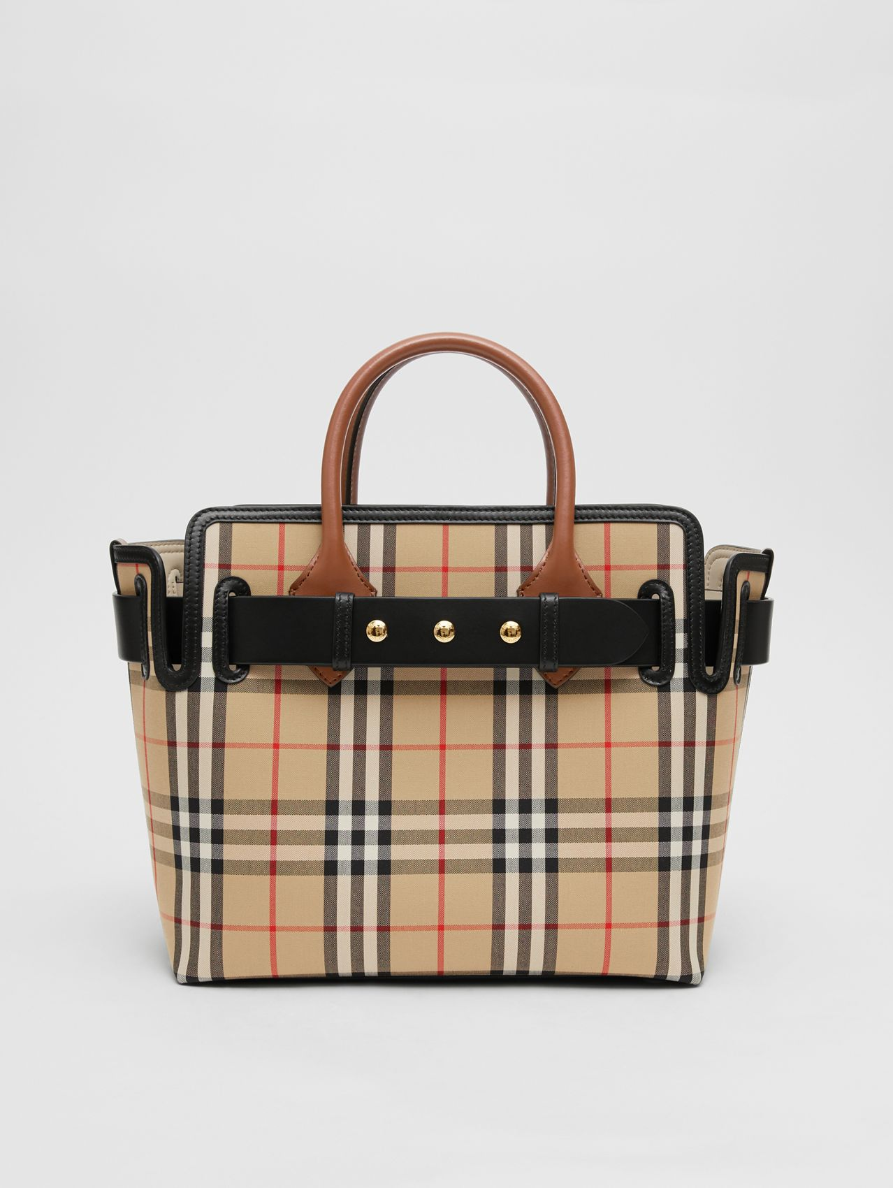 The Small Vintage Check Triple Stud Belt Bag (Archive Beige)