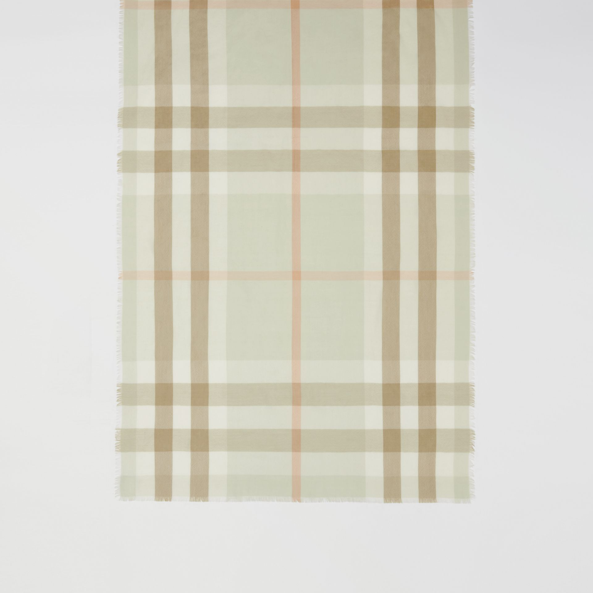 Lightweight Check Cashmere Scarf in Pale Apple Green | Burberry - gallery image 3