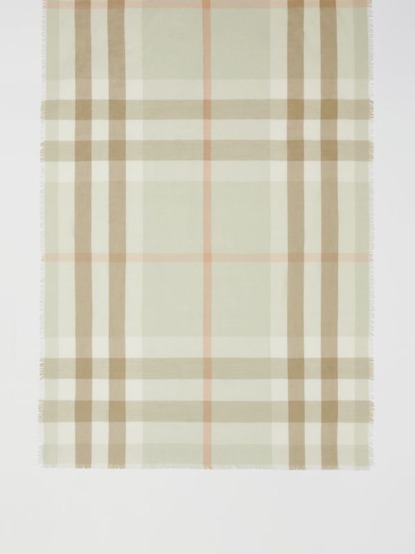 Lightweight Check Cashmere Scarf in Pale Apple Green | Burberry - cell image 3