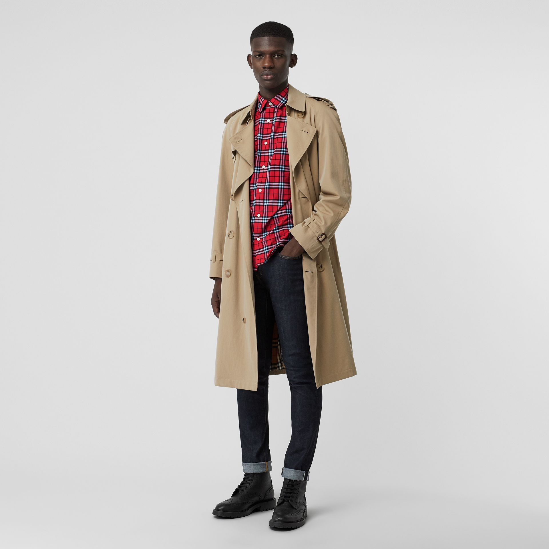 Check Cotton Shirt in Bright Red - Men | Burberry United Kingdom - gallery image 4