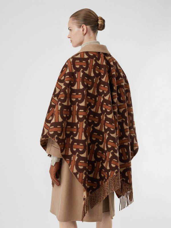 Monogram Merino Wool Cashmere Jacquard Cape in Dark Mocha - Women | Burberry Australia - cell image 2