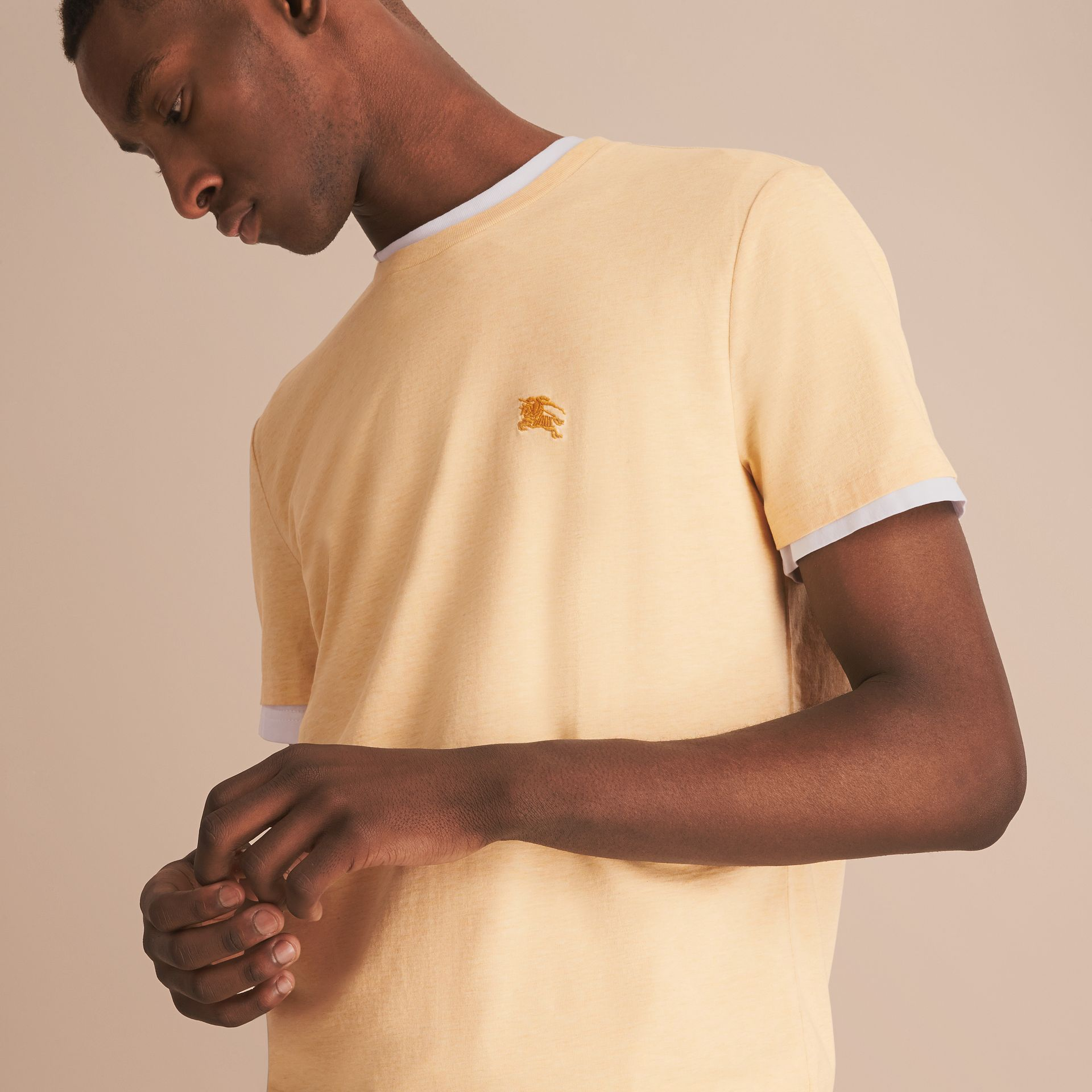 Cotton Jersey T-shirt in Pale Yellow Melange - Men | Burberry - gallery image 5