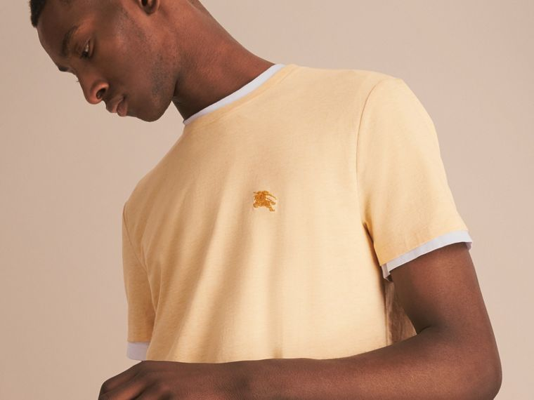 Cotton Jersey T-shirt in Pale Yellow Melange - Men | Burberry Singapore - cell image 4