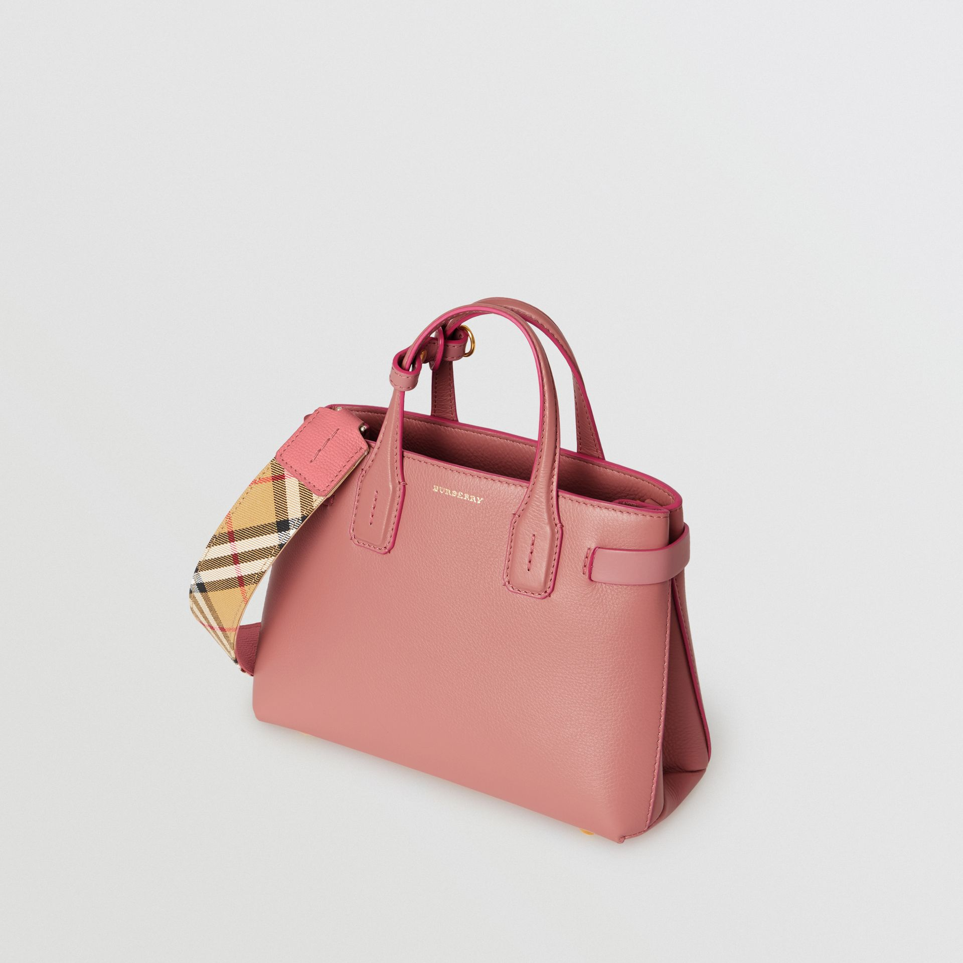 The Small Banner in Leather and Vintage Check in Dusty Rose - Women | Burberry Australia - gallery image 4