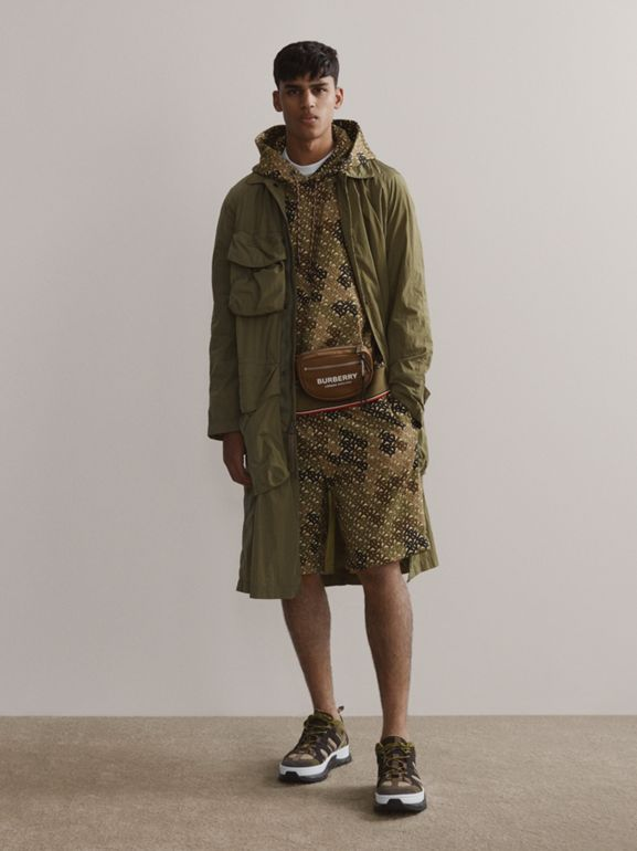 Monogram Print Cotton Hoodie in Khaki Green - Men | Burberry - cell image 1