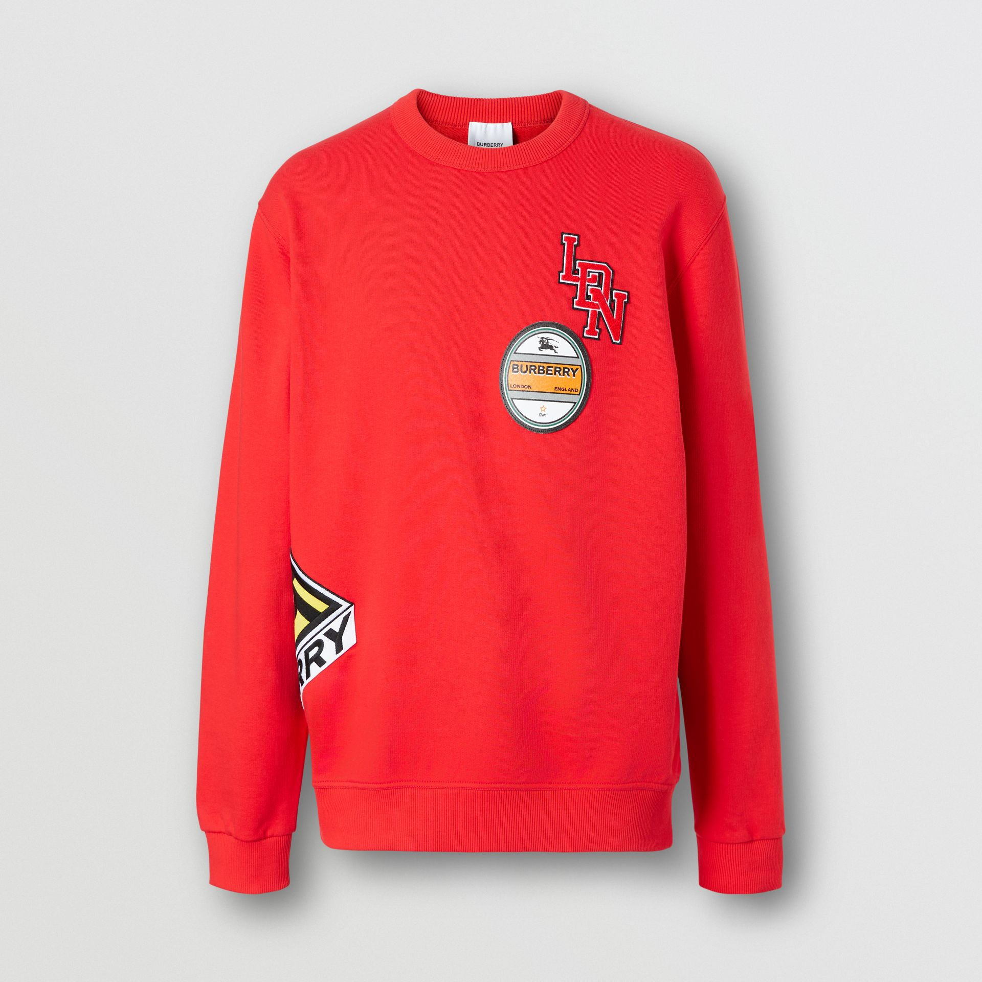 Logo Graphic Cotton Sweatshirt in Bright Red - Men | Burberry - gallery image 3