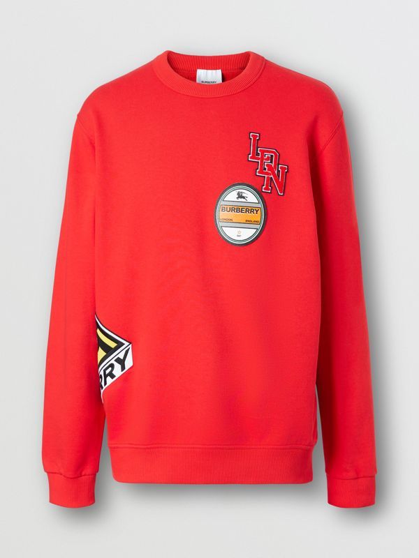Logo Graphic Cotton Sweatshirt in Bright Red - Men | Burberry - cell image 3
