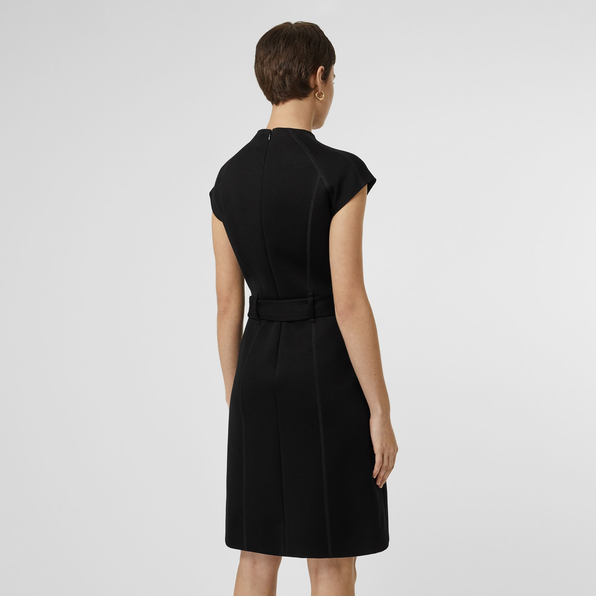 D-ring Detail Bonded Jersey Dress in Black - Women | Burberry Australia - gallery image 2