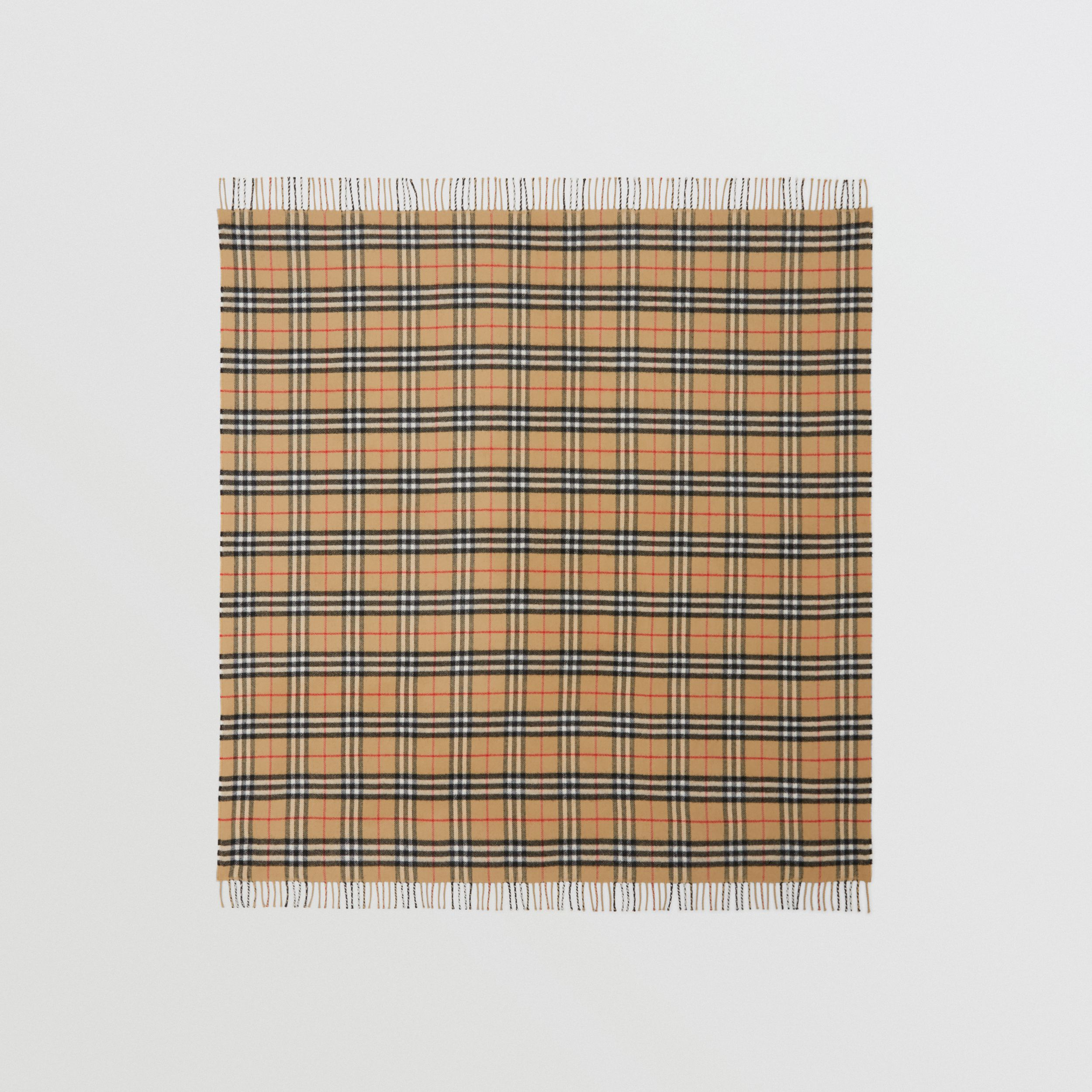 Vintage Check Merino Wool Baby Blanket in Archive Beige - Children | Burberry Singapore - 3