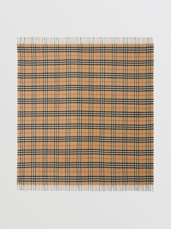 Vintage Check Merino Wool Baby Blanket in Archive Beige - Children | Burberry United States - cell image 2
