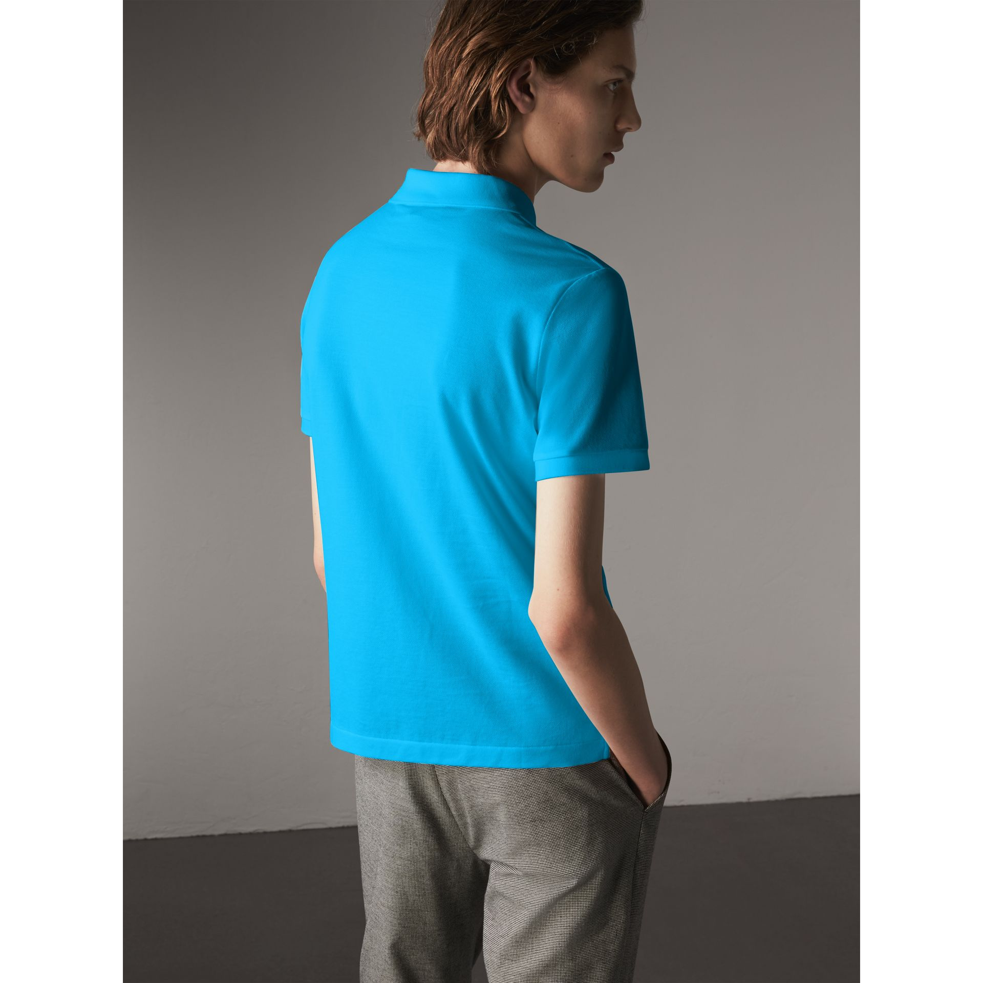 Cotton Piqué Polo Shirt in Cyan Blue - Men | Burberry - gallery image 2