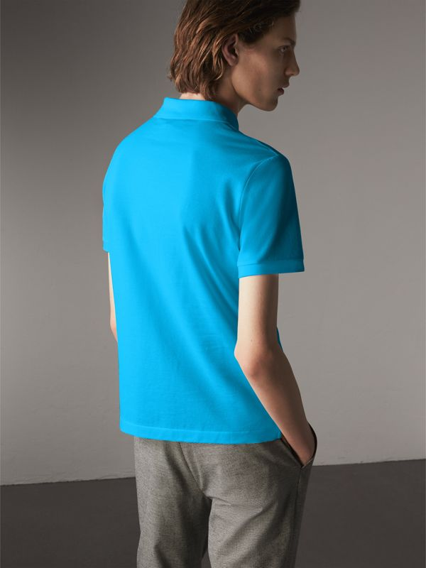 Cotton Piqué Polo Shirt in Cyan Blue - Men | Burberry - cell image 2