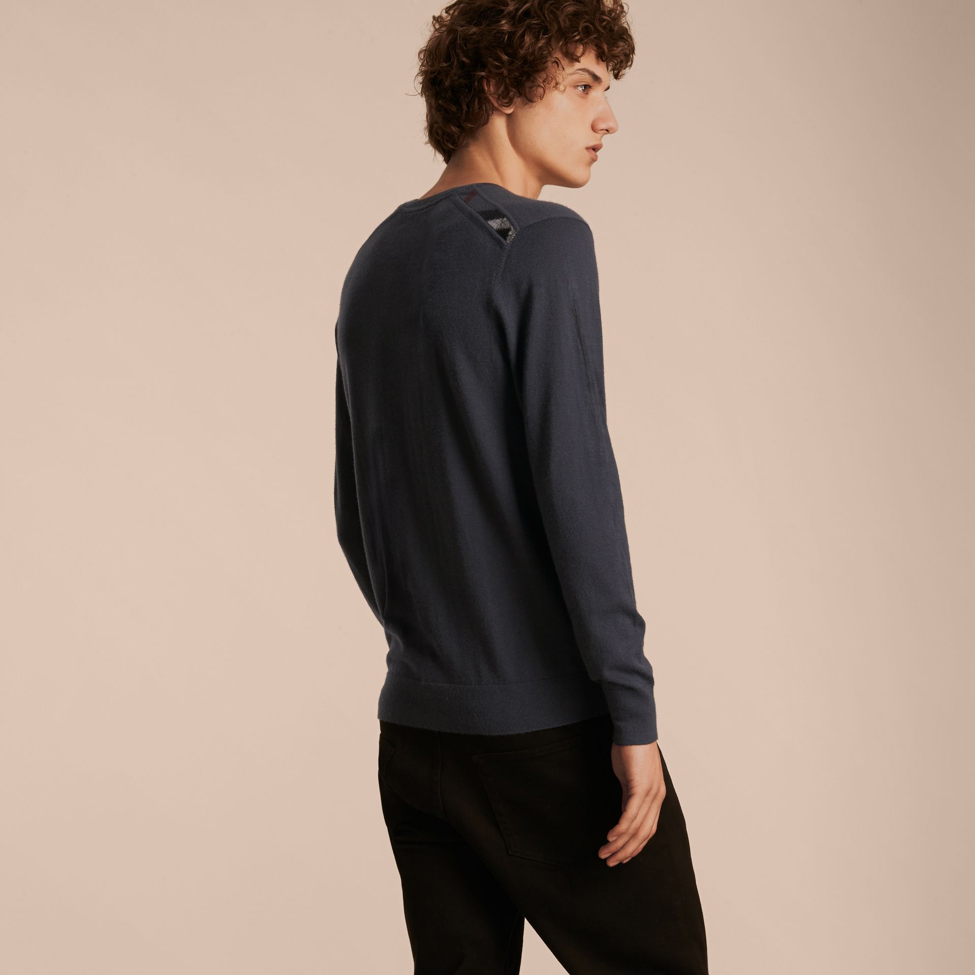 Dark grey melange Lightweight Crew Neck Cashmere Sweater with Check Trim Dark Grey Melange - gallery image 3