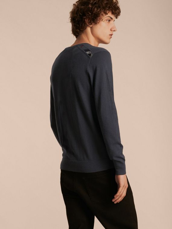 Dark grey melange Lightweight Crew Neck Cashmere Sweater with Check Trim Dark Grey Melange - cell image 2