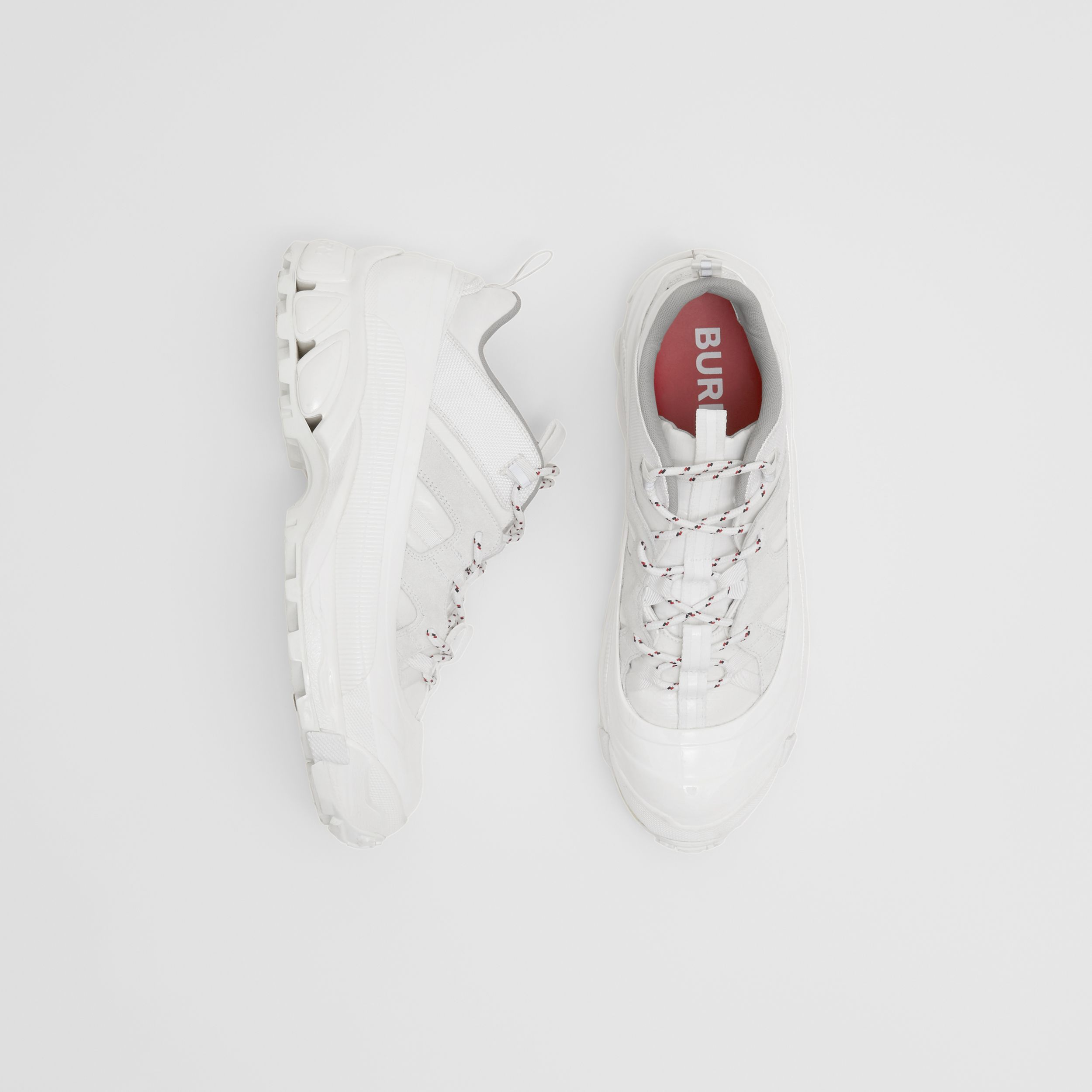 Nylon and Suede Arthur Sneakers in Off White | Burberry Canada - 1