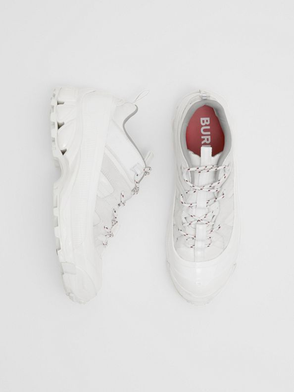 Nylon and Suede Arthur Sneakers in Off White