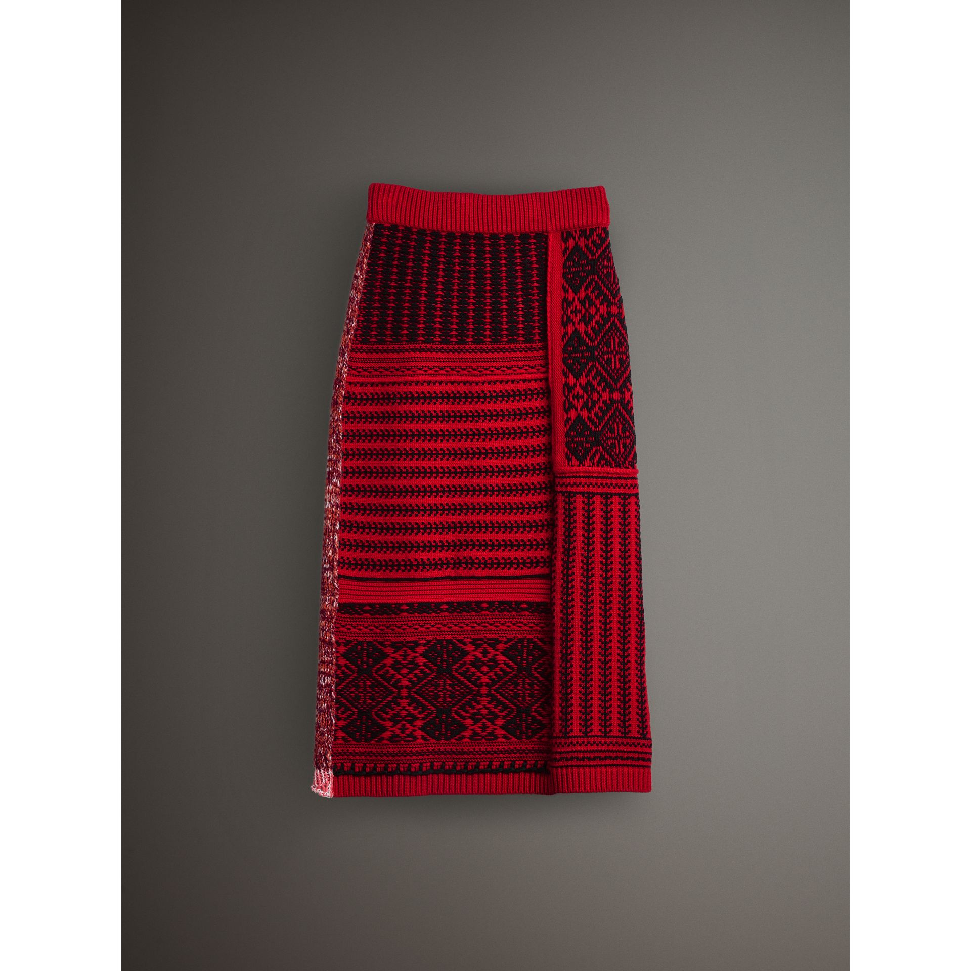 Geometric and Cable Knit Wool Cashmere Skirt in Red/black - Women | Burberry Australia - gallery image 3