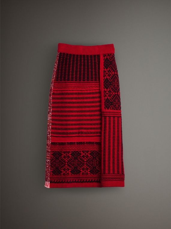 Geometric and Cable Knit Wool Cashmere Skirt in Red/black - Women | Burberry Australia - cell image 3