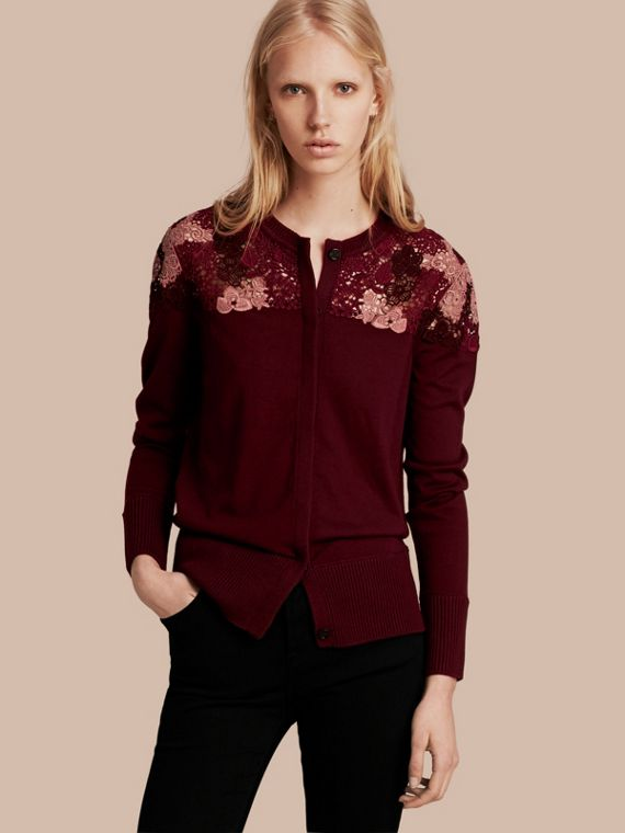 Lace Yoke Merino Wool Cardigan Deep Claret