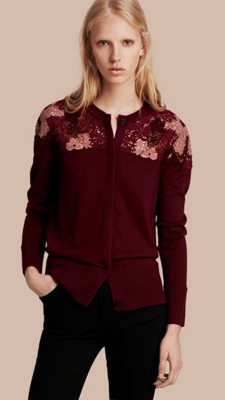 Lace Yoke Merino Wool Cardigan