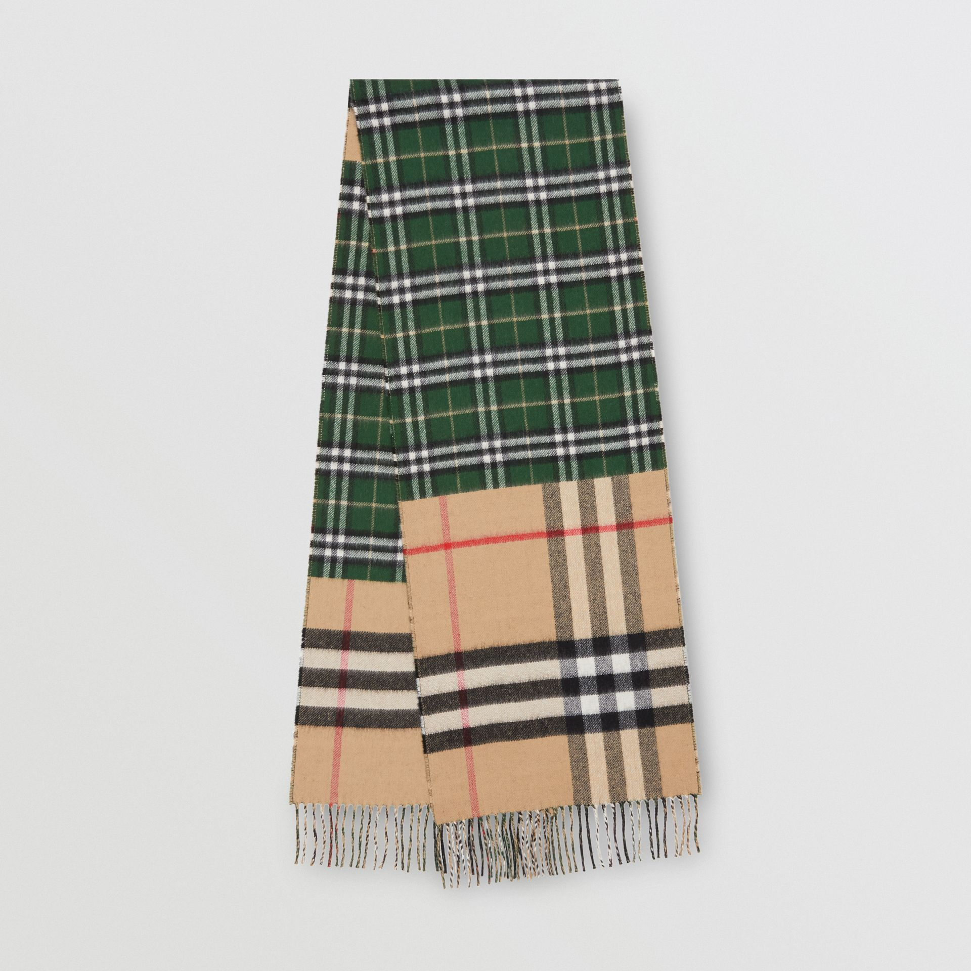 Contrast Check Cashmere Merino Wool Jacquard Scarf in Dark Pine Green | Burberry United Kingdom - gallery image 0