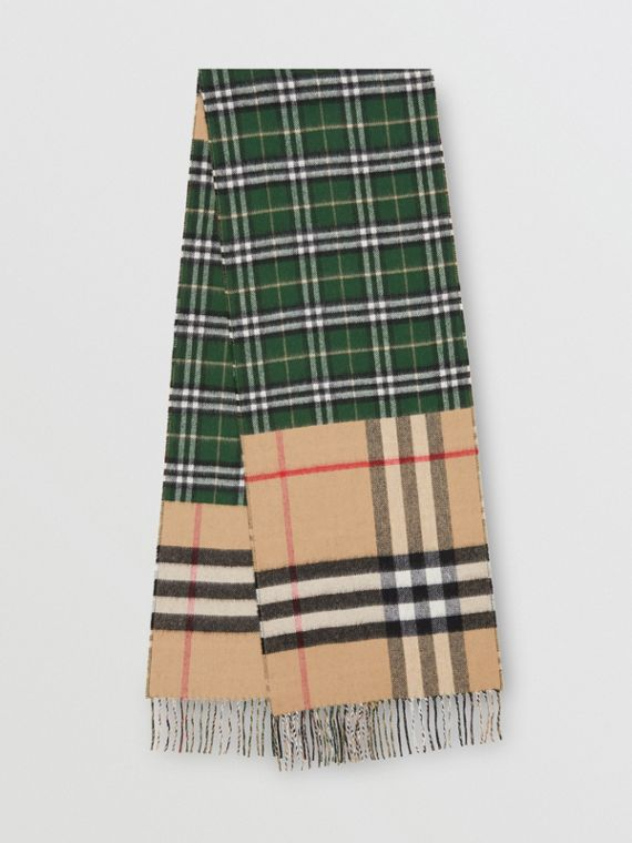 Contrast Check Cashmere Merino Wool Jacquard Scarf in Dark Pine Green