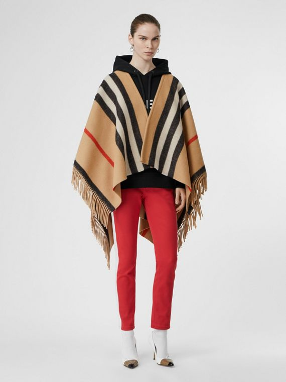 Striped Wool Cape in Camel