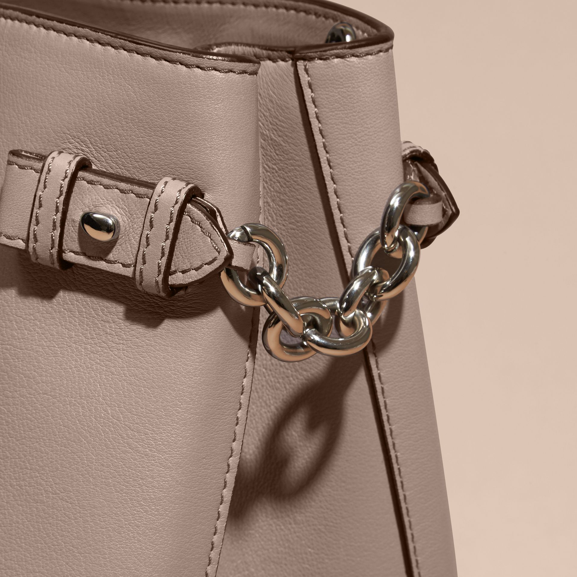 The Medium Banner in Leather with Chain Detail Thistle Grey - gallery image 2