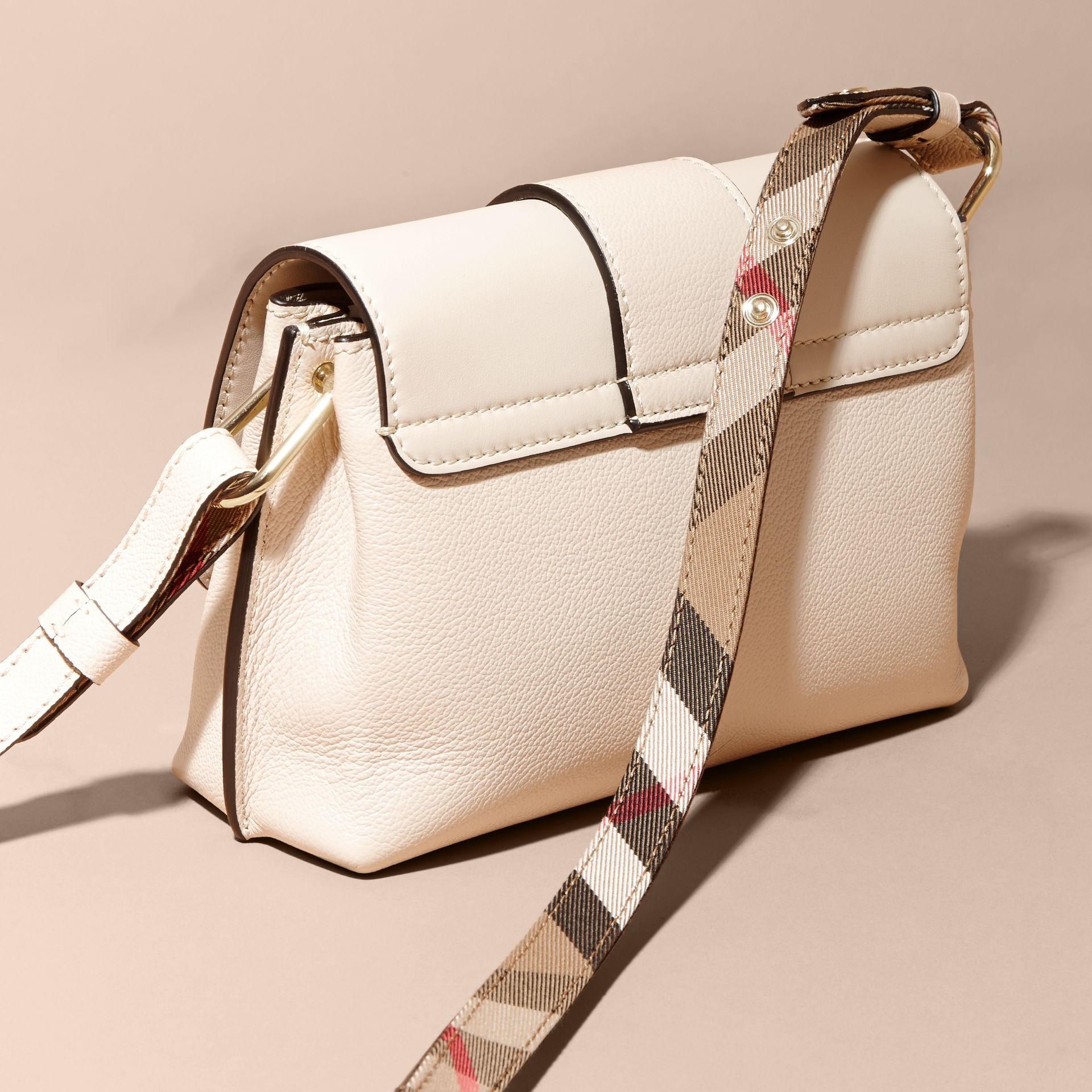The Buckle Crossbody Bag in Leather in Limestone - gallery image 5