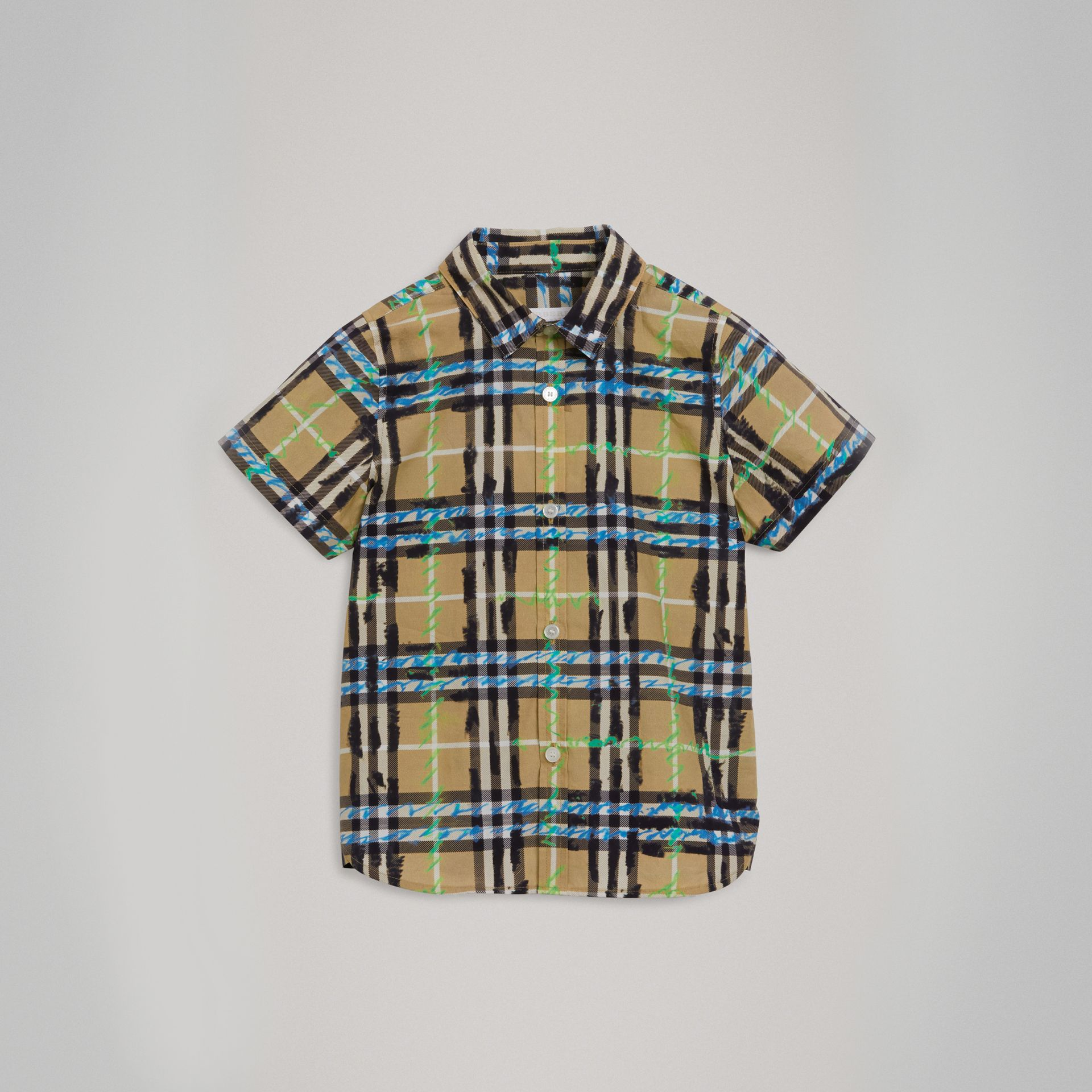 Short-sleeve Scribble Check Cotton Shirt in Bright Blue - Boy | Burberry Canada - gallery image 0