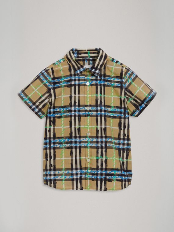 Short-sleeve Scribble Check Cotton Shirt in Bright Blue