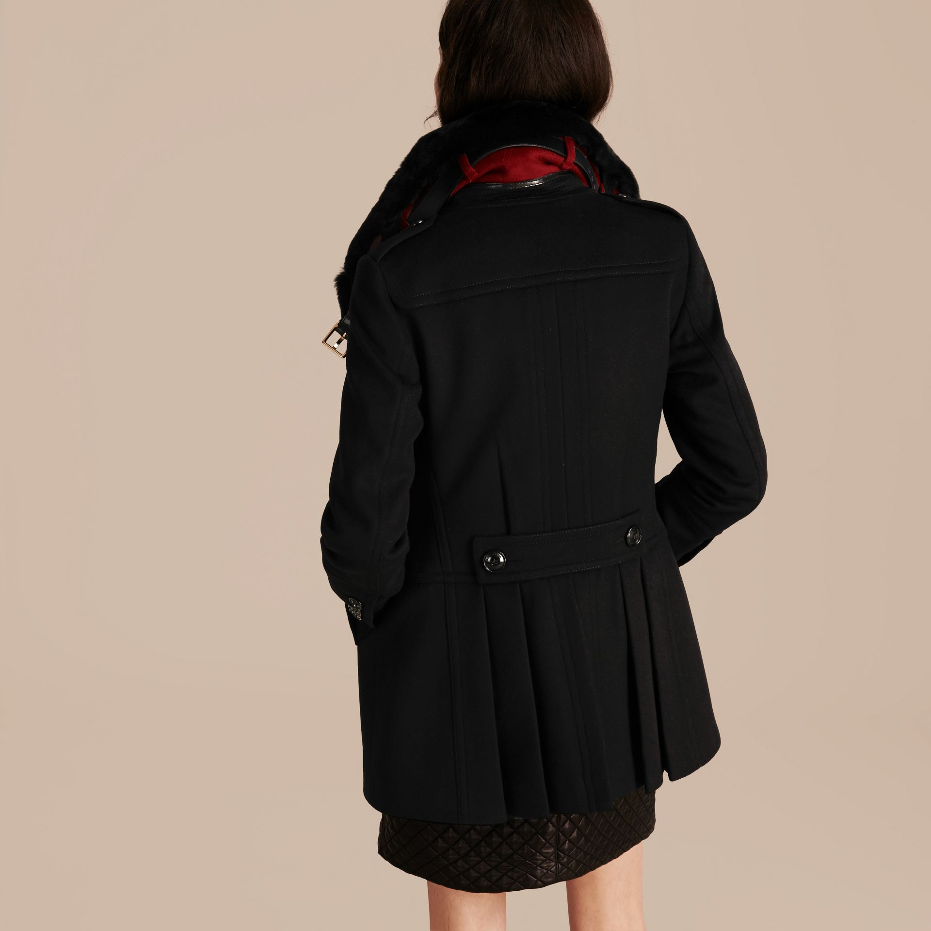 Black Wool Cashmere Pea Coat with Detachable Fur Collar - gallery image 3