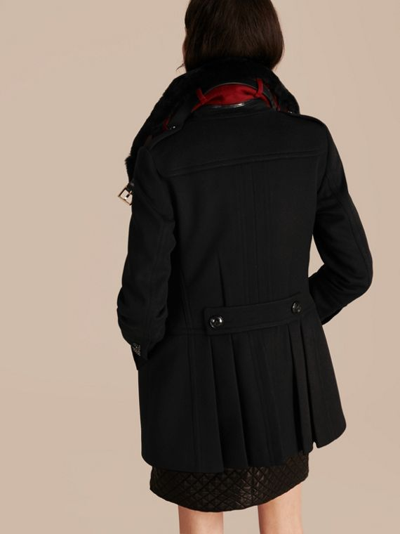 Black Wool Cashmere Pea Coat with Detachable Fur Collar - cell image 2