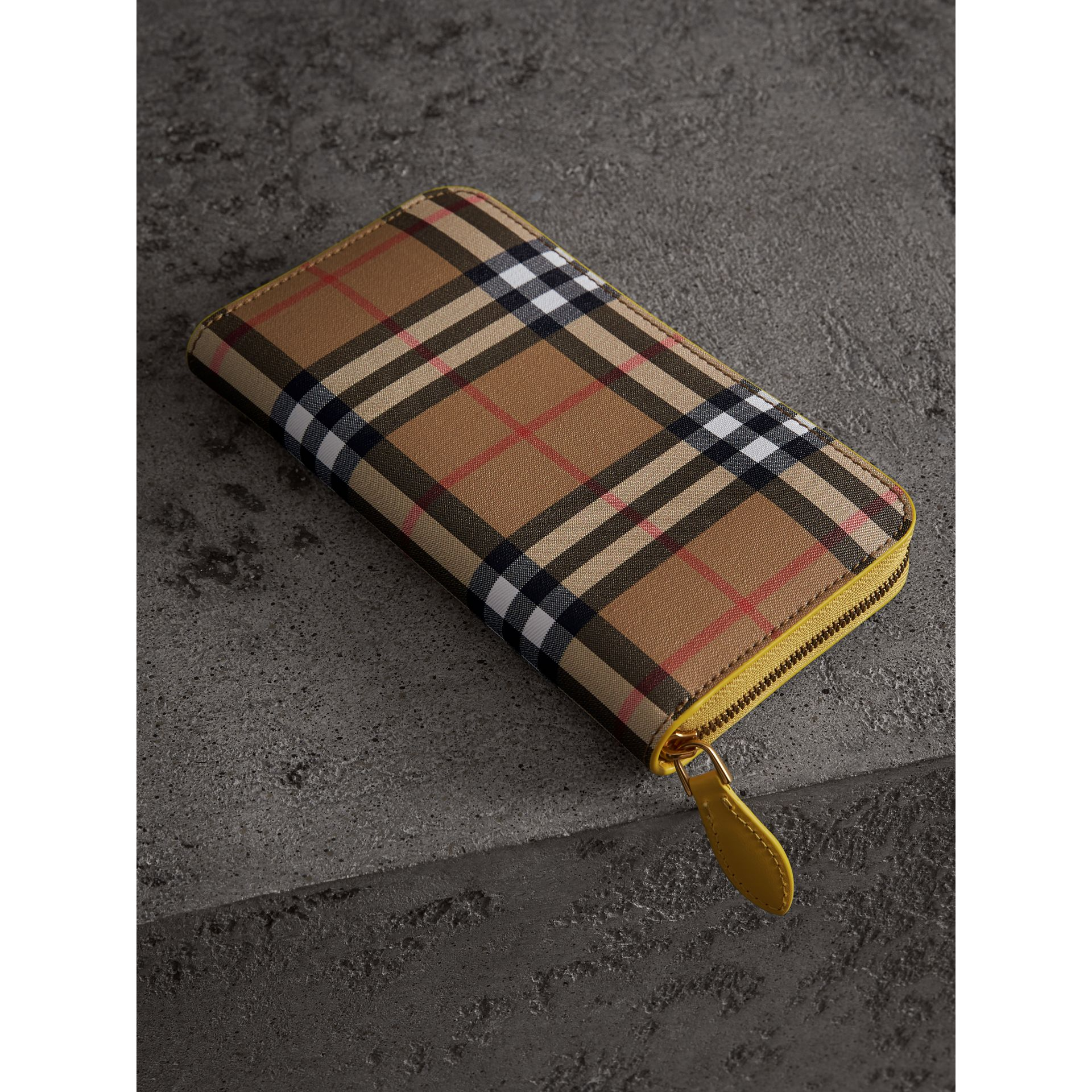 Vintage Check and Leather Ziparound Wallet in Bright Larch Yellow - Women | Burberry Singapore - gallery image 2