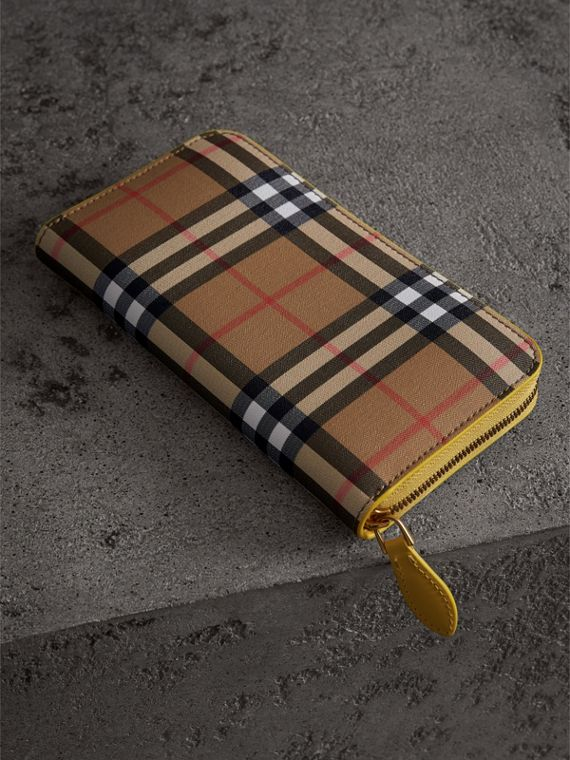 Vintage Check and Leather Ziparound Wallet in Bright Larch Yellow - Women | Burberry - cell image 2