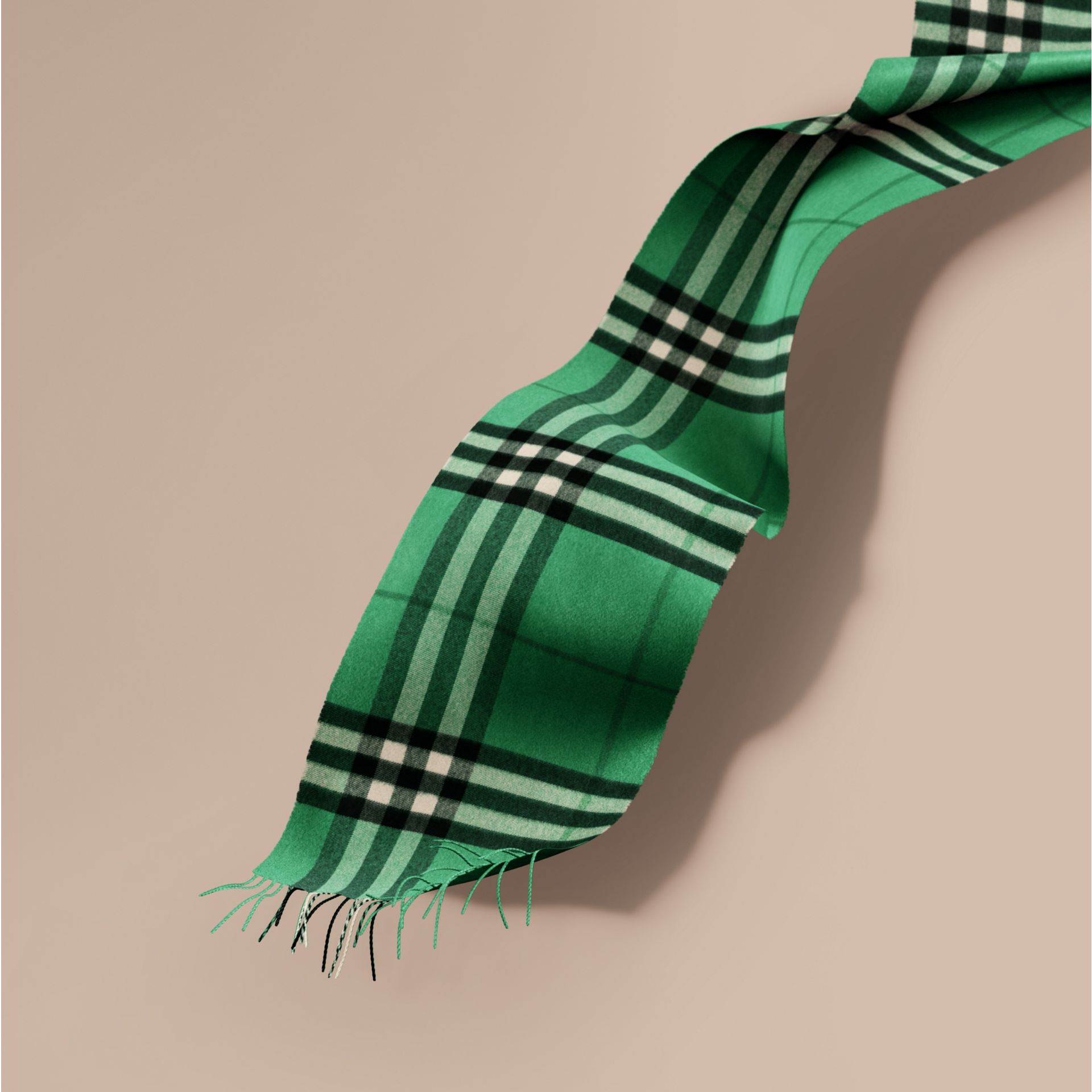 The Classic Cashmere Scarf in Check  Emerald - gallery image 1