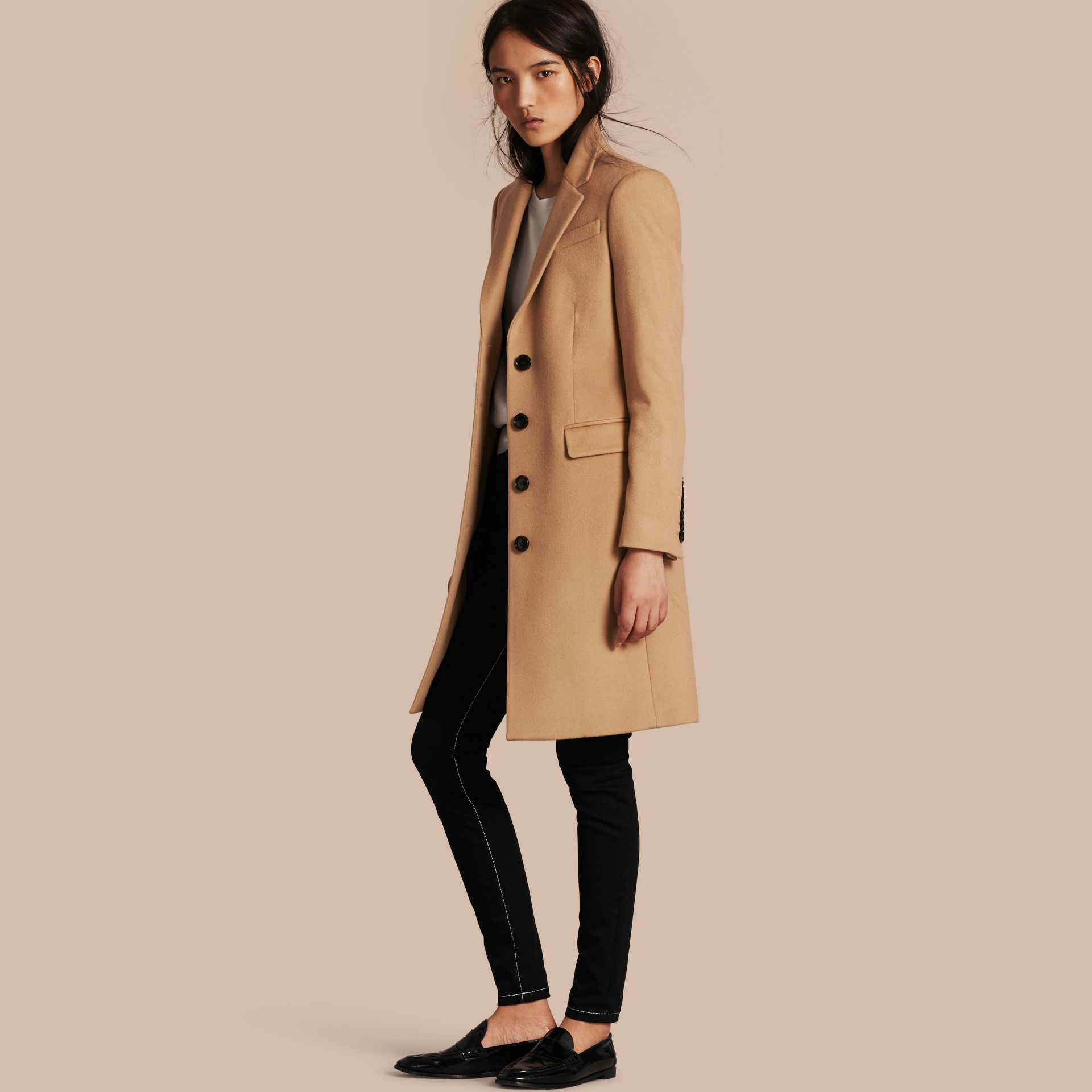 Camel Tailored Wool Cashmere Coat Camel - gallery image 1