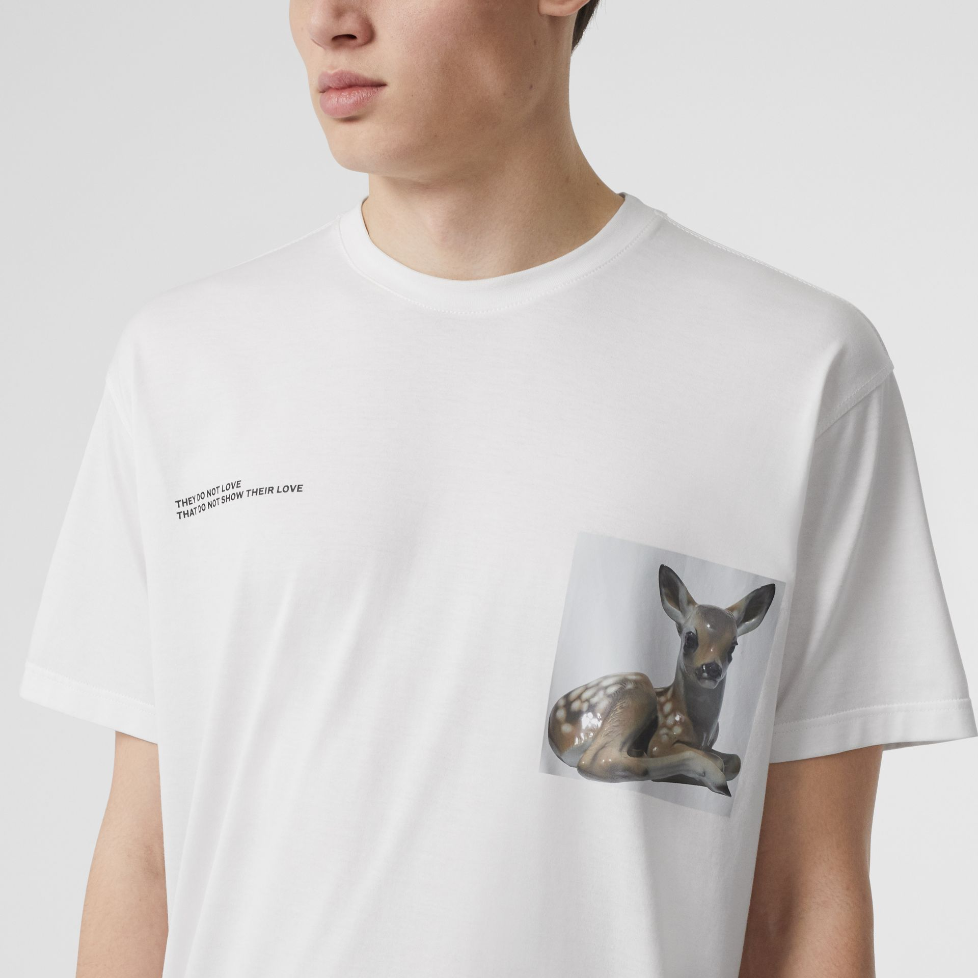 Montage Print Cotton Oversized T-shirt in Optic White | Burberry - gallery image 1