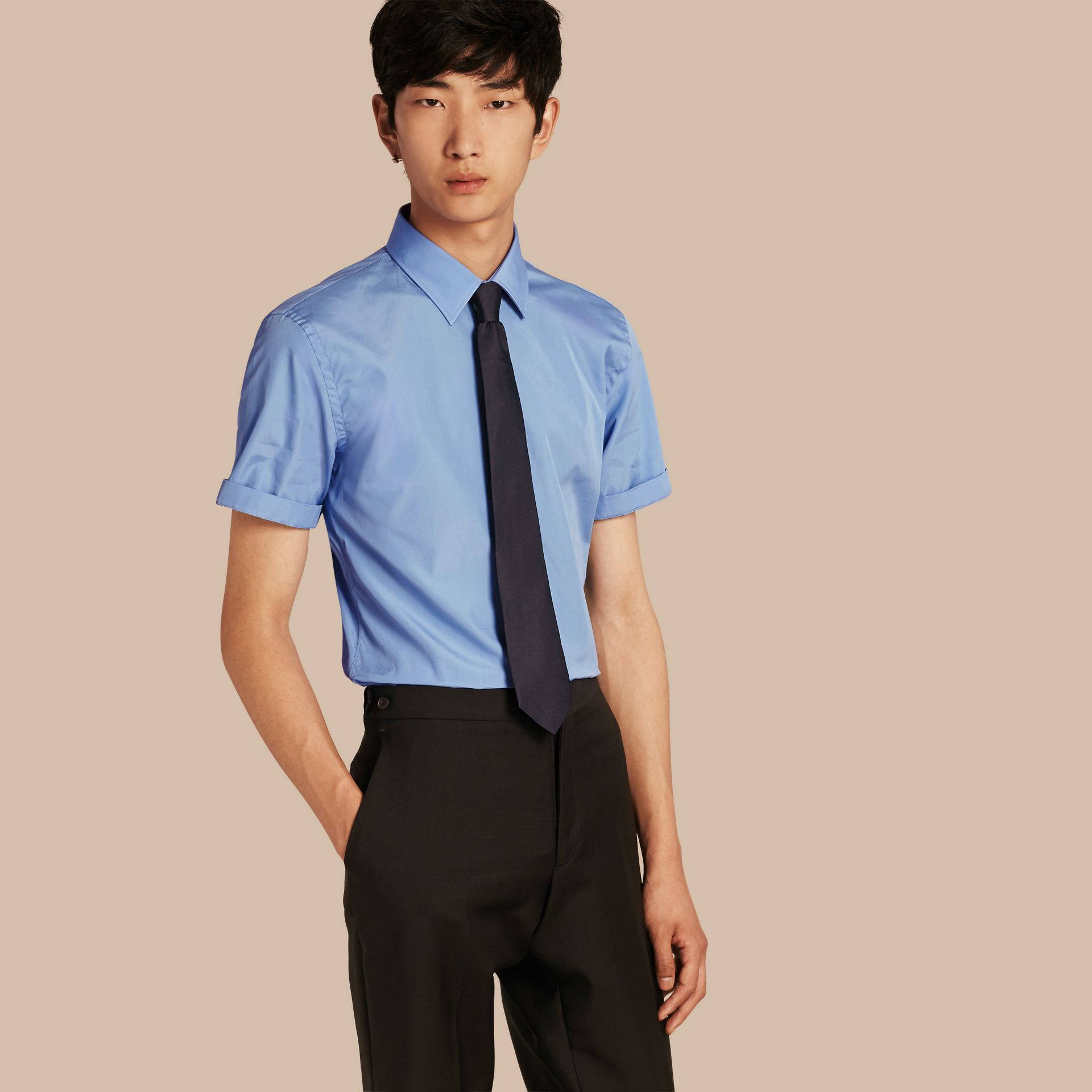 Mid blue Slim Fit Short-sleeved Cotton Poplin Shirt - gallery image 1