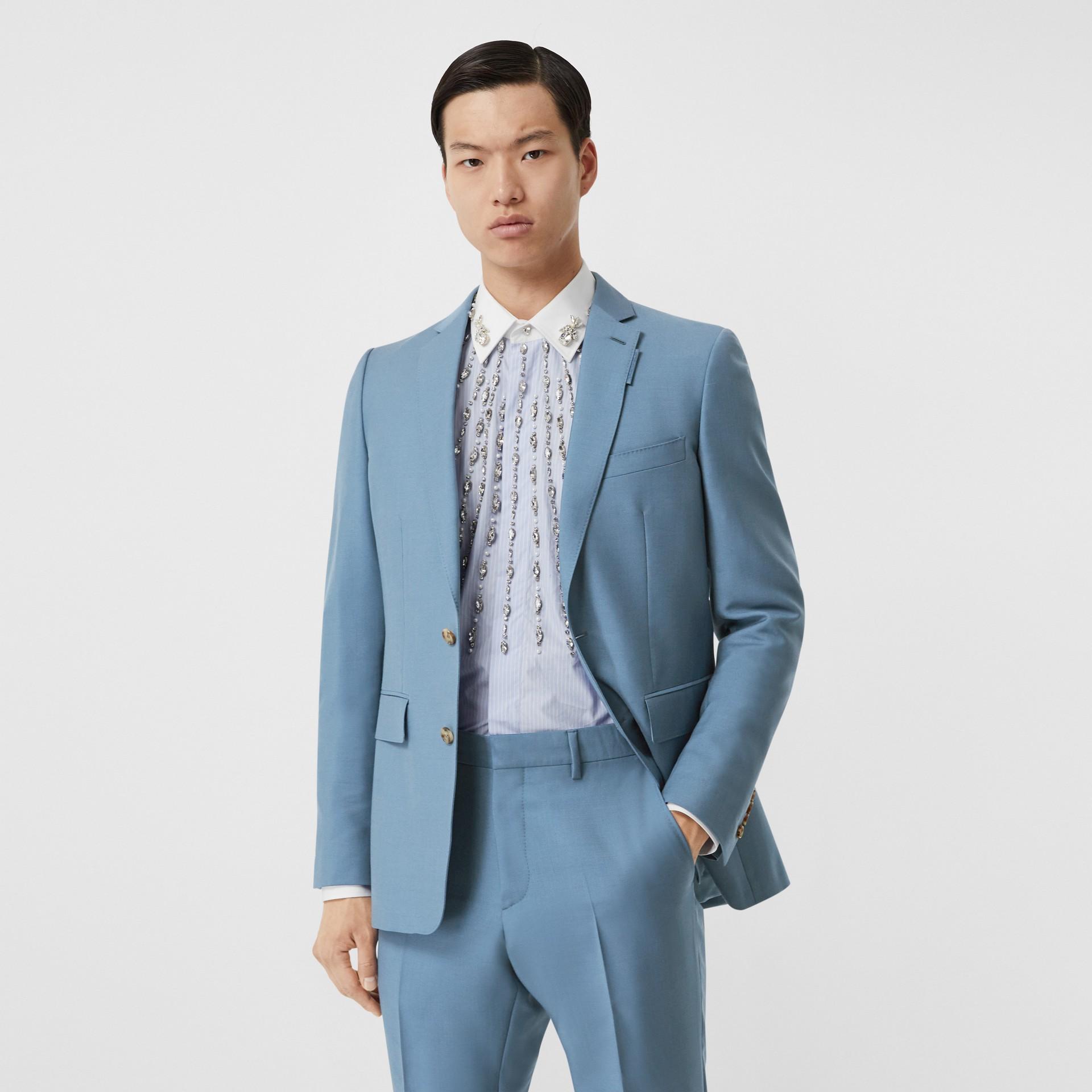 Пиджак в английском стиле из шерсти и мохера (Стальной Синий) - Для мужчин | Burberry - изображение 0