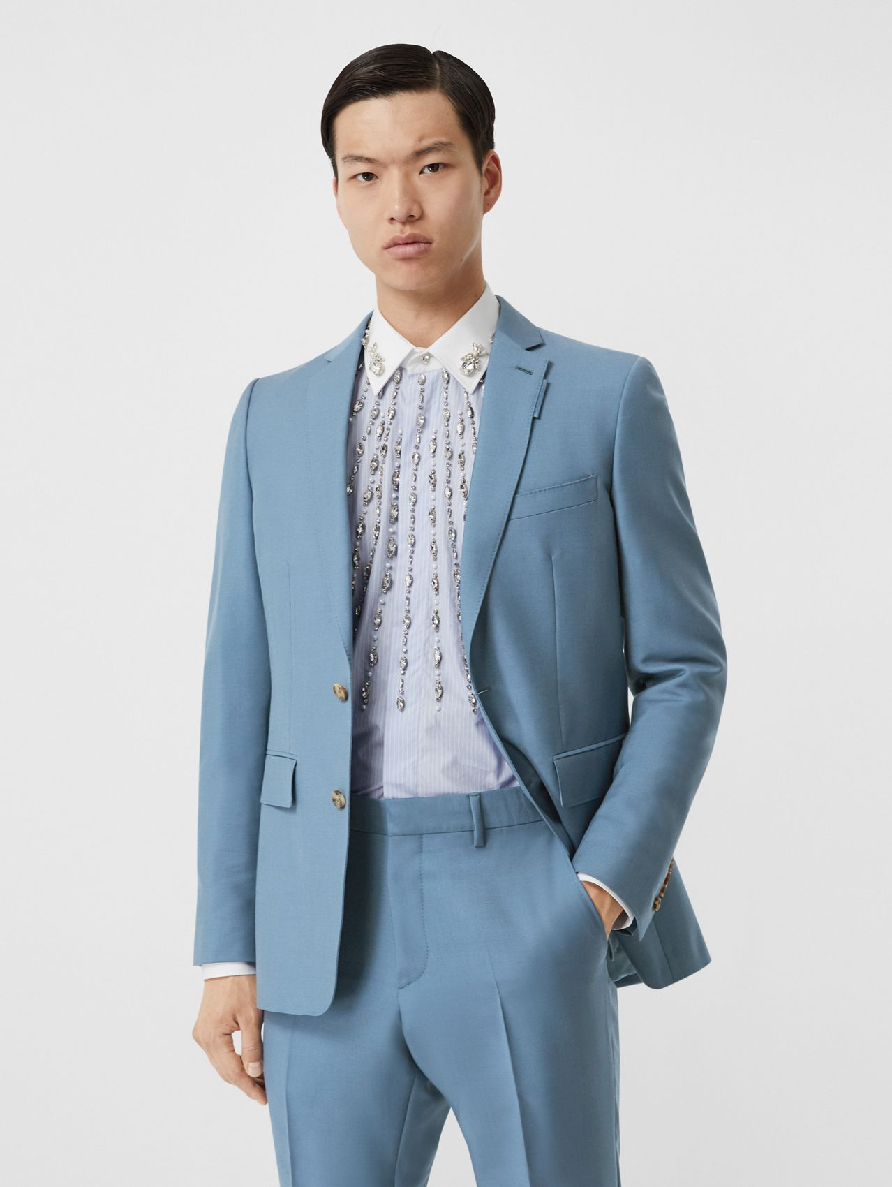 English Fit Wool Mohair Tailored Jacket in Steel Blue
