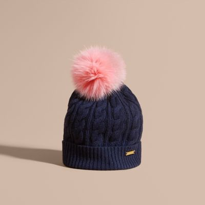 afd0fd50cb32b wool cashmere cable knit beanie with two tone fur pom navy rose pink