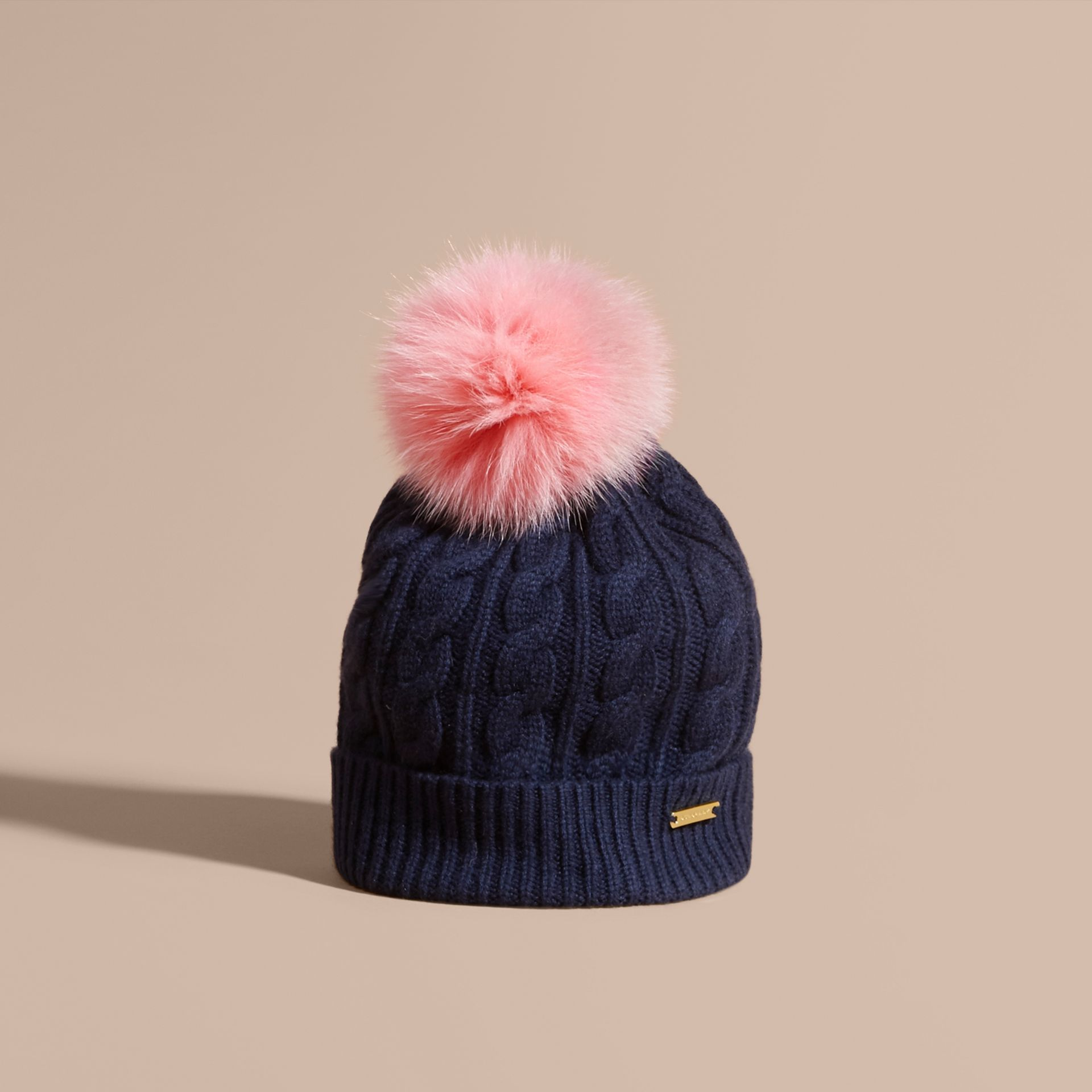 Navy/rose pink Wool Cashmere Cable Knit Beanie with Two-tone Fur Pom-Pom Navy/rose Pink - gallery image 1