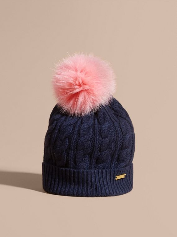 Wool Cashmere Cable Knit Beanie with Two-tone Fur Pom-Pom Navy/rose Pink
